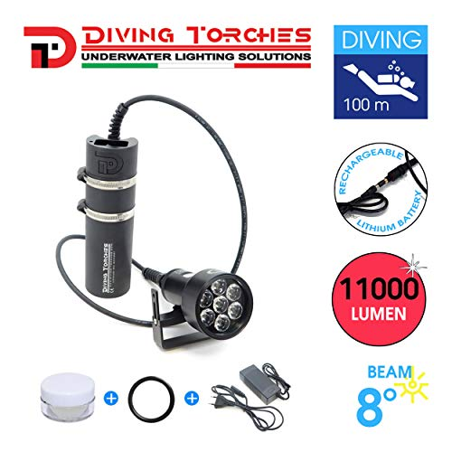 Made in Italy underwater diving torch DIVING TORCHES 7-LED STRIKER 11000 SPELEO rechargeable diving