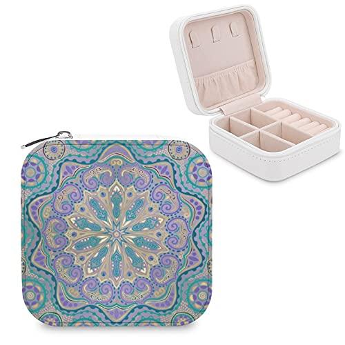 Organizador de joyas de viaje para niñas, mujeres, bonito y colorido mandala en morado, azul y dorado, estuche de almacenamiento portátil para anillos, pendientes, collares