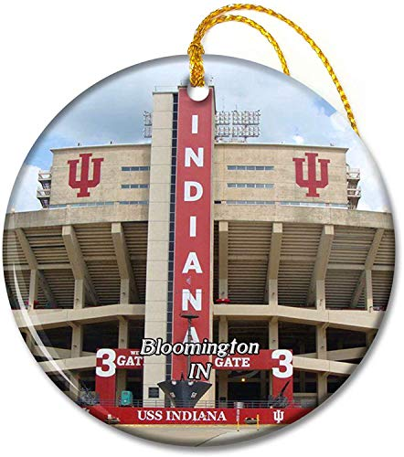 Bloomington Indiana University Indiana USA Ornaments 2.8 inch Ceramic Round Holiday Ornament Pandent for Family Friends