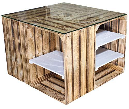 Vintage Möbel 24 GmbH 1x Geflammter Couchtisch mit weißen Regalböden & Glasplatte, aus hochkanten Obstkisten, auch als Lounge Tisch, neu, 70x70x50cm