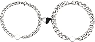 الأزواج المغناطيس سوار الفولاذ المقاوم للصدأ المغناطيس على شكل قلب معصمه جذابة للرجال والنساء هدايا عيد الحب