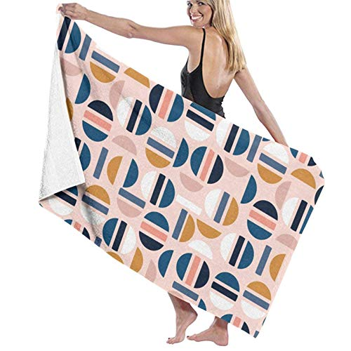 LREFON Pastel Medio círculo patrón geométrico Toallas de baño Moda de Secado rápido Toalla de Ducha Personalidad Suave Playa Toalla de natación
