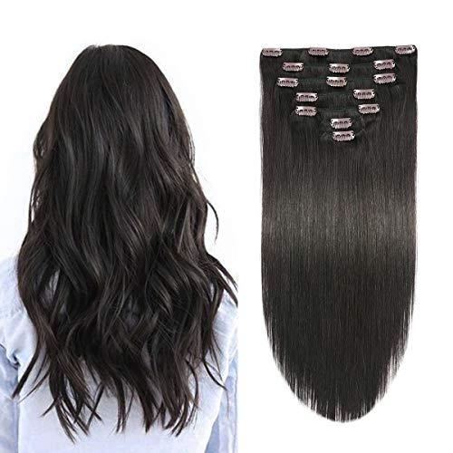 SUYYA Clip in Hair Extensions Human Hair Off Black 100% Real Human Hair 16 inches 7pcs 120g Straight Double Weft Natural Black Clip Hair Extensions(16 inches #1B Off Black)