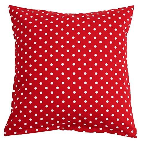 Hans-Textil-Shop Kissenbezug 40x40 cm Punkte 7 mm Rot (Deko, Sofa, Kissen, Kissenhülle)