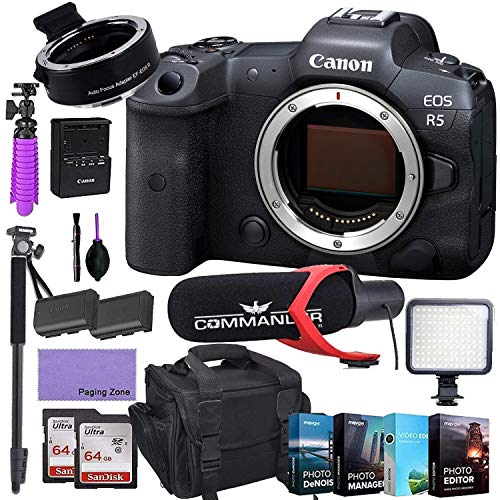CanonEOS R5 Mirrorless Digital Camera (Body Only) and Mount Adapter EF-EOS R kit Bundled with Deluxe Accessories Like Pro Microphone, High Power LED, 4-Pack Photo Editing Software and More