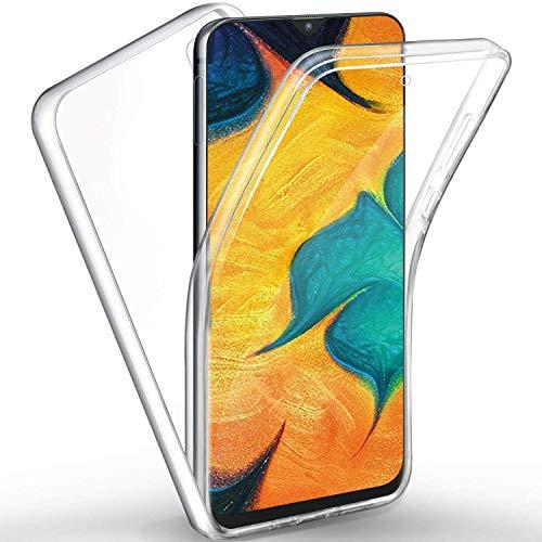 Miagon Galaxy A01 Hülle 360 Grad Cover,Doppelseitig Silikon Vorne und Hart Hinten Ganzkörper Durchsichtig Dünne Etui Schutzhülle für Samsung Galaxy A01