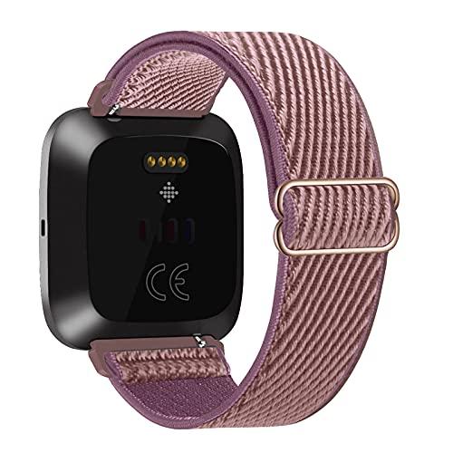 Lobnhot Nylon Cinturino Compatibile con Fitbit Versa 2 / Versa/Versa Lite/Versa SE, Cinturino Loop Regolabile Elastico(fumé-Mauve)
