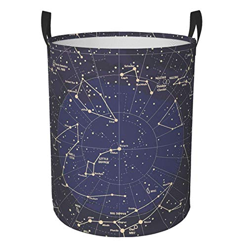 Foldable Laundry Hamper 12 Constellation Universe Galaxy Space Stars Dirty Clothes Round Laundry Basket Waterproof Toys Clothes Storage Organizer Washing Bin Durable Handbag For Bathroom Bedroom