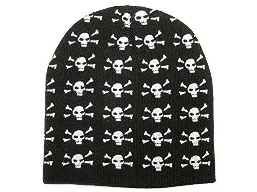 Raphia Art Rip Beanie – Black & White Skulls