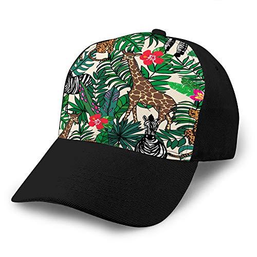 Sombrero clásico de algodón para papá Gorra Lisa Ajustable Gorra de béisbol de Mezclilla Personalizada para Animales Adultos en la Selva Gorra de béisbol clásica