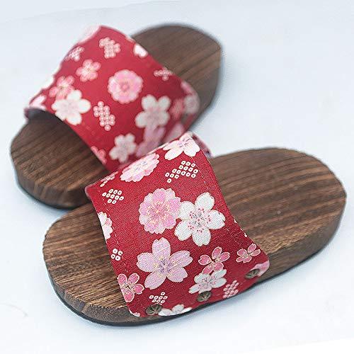 Shukun Tenen Flip Flops houten schoenen dames houten pantoffels dikke onderkant antislip woorden hoofd en wind hoge hak zomer