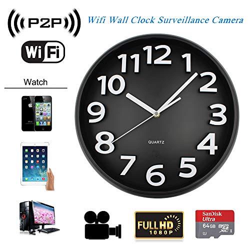 SONGYANG Reloj de Pared de la cámara Altavoz Bluetooth cámara Oculta espía inalámbrica Digital de Alta definición 1080P WiFi n Agujero visión Nocturna Bucle de vídeo,A+64Gmemorycard