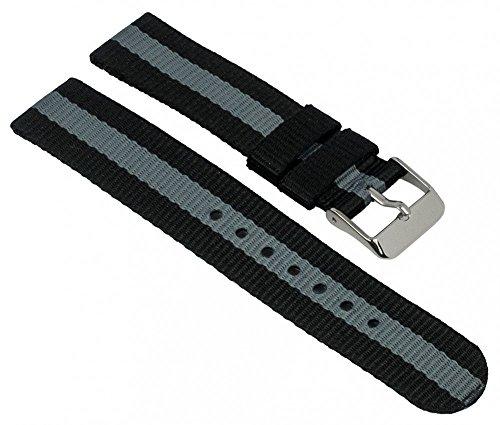Adora Young Line Kollektion Ersatzband Uhrenarmband Textil Band 18mm schwarz/grau 29069