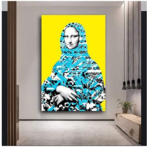 ZNNHERO Divertidos Carteles e Impresiones de Arte Pop de Pared con Retrato nórdico con Sonrisa de Mona Lisa Imagen de Pared para decoración de Sala de estar-60x90cmx1 sin Marc