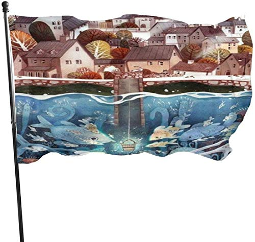 Viplili vlaggen/vlag, Underwater World in de stad van Watercolor Painting Flag 3 x 5 Ft, Double Stitched polyester met messing maten 3 x 5 feet vlaggen voor outdoor, binnen- en buitendecoratie