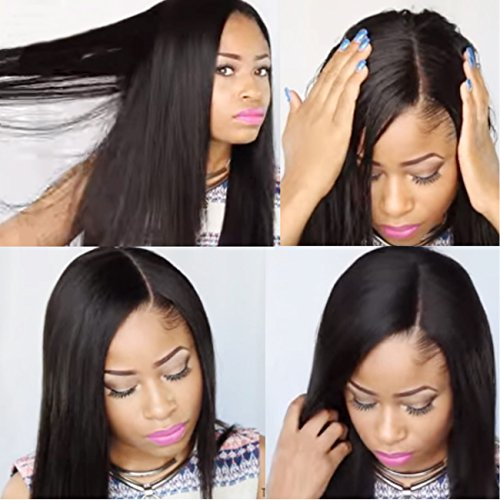 KUN Hair 360 Lace Wigs Human Hair Wigs Brazilian Virgin Hair Pre Plucked Natural Hairline with Baby Hair Light Yaki Straight 360 Lace Wigs 150% Density (12 inch, Color #1B)