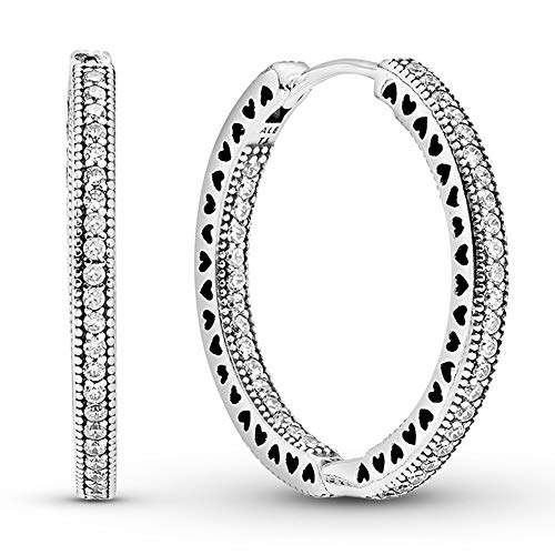 Pandora Jewelry Sparkle and Hearts Hoop Cubic Zirconia Earrings in Sterling Silver (2.5mm)