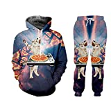 JCNHXD Plus größe männer 3D Print Pizza Katze Hoodies Sweatpants Trainingsanzug männer lässig Sportwear Hspa05690 6XL