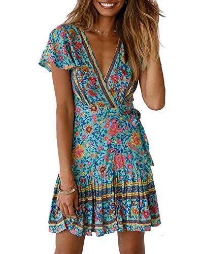 Abravo Mujer Vestido?Bohemio Corto Florales Nacional Verano Vestido Casual Magas Cortas Chic de Noche Playa Vacaciones,Azul,S