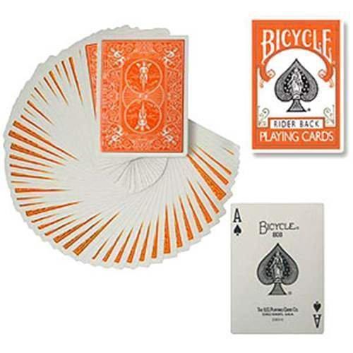 Mazzo di Carte Bicycle - Regolare formato Poker - dorso arancione - Mazzi Bicycle - Carte da gioco - Giochi di Prestigio e Magia