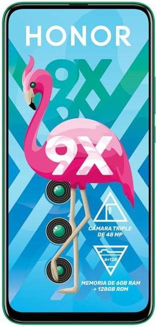 Honor 9X 6.59, 128GB, 6GB RAM, Triple Camera, Dual SIM GSM Unlocked International model STK-LX3 (Green)