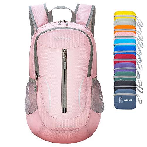 ZOMAKE Ultra Lightweight Packable Rucksack, 25L Klein Wasserfest Wandern Daypack Faltbarer Reiserucksack für Männer Frauen im Freien (Korallenrosa)