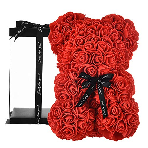 Rose Teddy Bear on Every Rose Bear -Flower Bear Perfect for mom Gifts for Women Gifts for Girlfriend- Clear Gift Box Included! 10 Inche (red, 10in)