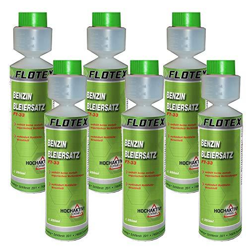 Flotex Benzin Bleiersatz, 6 x 250ml Additiv für ältere Benzinmotoren gegen Leistungsabfall und Motorschäden
