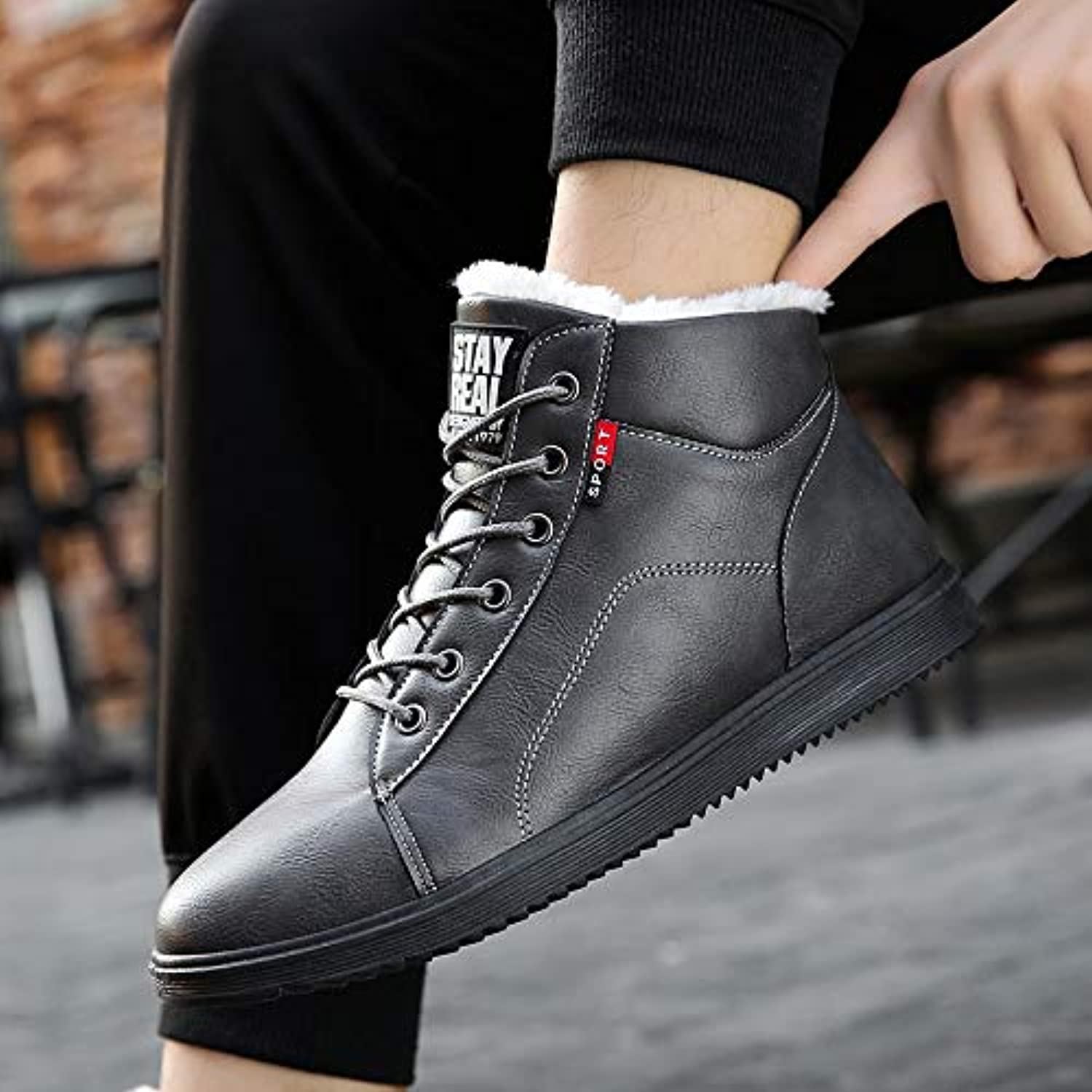 LOVDRAM Boots Men's Men'S Booties Winter New Snow Boots Casual Cotton Boots Thick Warm Warm shoes Student Martin Boots Men'S shoes