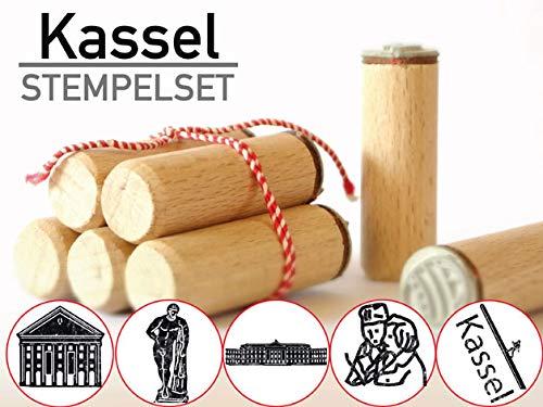 13gramm Kassel Stempelset Souvenir Geschenk, 5-teilig aus Buchen-Holz