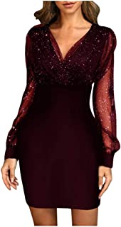 KYLEON Women's Dress Sexy Deep V Neck Sequin Glitter Stretchy Bodycon Mesh Party Mini Dress Long Sleeve Club Dress