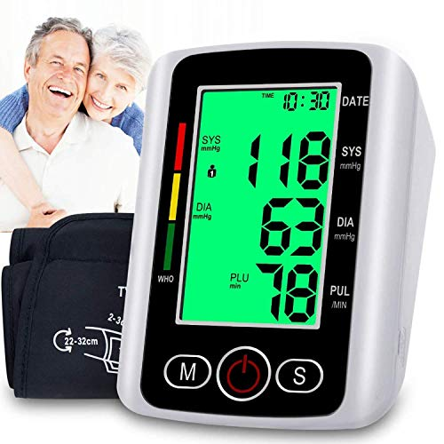 Blood Pressure Monitor Upper Arm, Automatic Digital Bp Monitor with Cuff 22-32cm, Large Screen, 2x99 Reading Memory, Blood Pressure Machine Pulse Rate Monitor for 2 User Adult Home Use