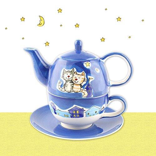 Mila Keramik Tee-Set: Tea for One, NachtKatzen | MI-99425 | 4045303994256