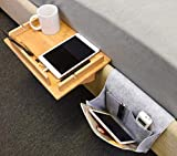 """Tirrinia Bedside Shelf Table & Storage Organizer Caddy - Cup & Pen Recess Design, Detachable Frame, Charger Cord Slots Floating Tray for College Student Dorm, Bunk Beds, Kids Nightstand, 14.8""""x 10"""""""