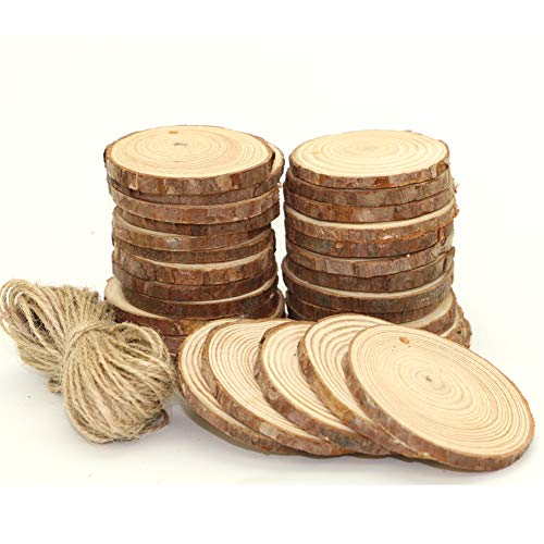 UoUo 30 Pcs 2.4'-2.8' Natural Wood Slices Round Unfinished Predrilled Tree Bark Log Discs with 49 Feet Jute Twine for DIY Ornaments Easter/Party Decoration