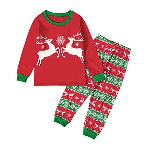 MEIbax (2-7Y) Niño Chica Camiseta de Manga Larga Camiseta + Ciervo de Navidad Pantalones Conjunto de Navidad Ropa para el hogar Niño Manga Larga Camisa Pantalones Ocio Ropa niños Traje Tops Blusa