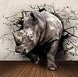 Mural 3D Rinoceronte animal de un cuerno Fotos Papeles de Pared 3D Sala de Estar Dormitorio decoración Foto 3D Papel de Pared Mural 300x210cm