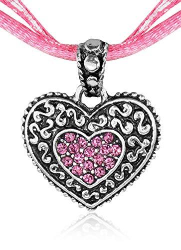 Kinder Trachten Halskette kariert mit Herz Anhänger Rosa - Süßer Schmuck für Mädchen zu Dirndl und Kleidern