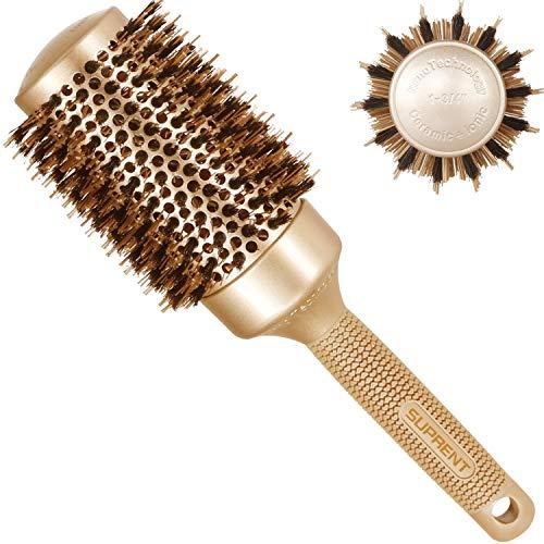 Spazzola rotonda 53mm, SUPRENT spazzole per capelli con setole di cinghiale naturale,spazzola per capelli rotonda per...