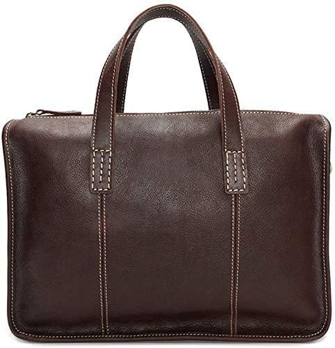 "LL-SUNGIRL Men's Leather Briefcase Small Satchel Shoulder Messenger Bag Retro Crossbody 13""Laptop Handbag (Color : Coffee Color)"
