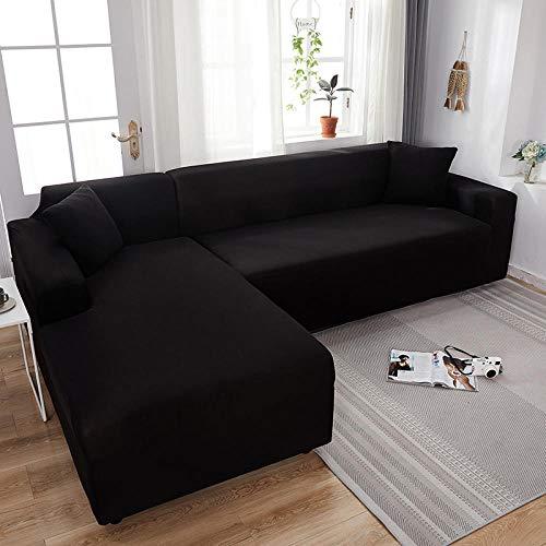 Fsogasilttlv Antideslizante Protector Cubierta de Muebles 1 Plaza, Fundas elásticas de Licra, Funda para sofá, Toalla elástica para sofá, Fundas para sofá de Esquina para Sala de Estar, Color Negro
