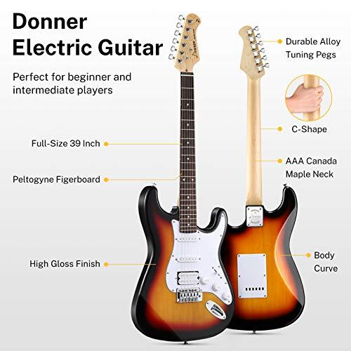 Donner Kit de Guitarra Eléctrica Stratocaster de Tamaño Completo con amplificador, bolsa, capo, correa, cuerda, sintonizador, cable y púas (Sunburst, DST-102S)