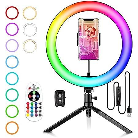 10 RGB Ring Light avec Tr/épied R/églable Anneau Lumineux avec T/él/écommande Bluetooth et Support de T/él/éphone 21 Couleurs RGB Luminosit/é R/églable pour Smartphone//Youtube//Tiktok//Maquillage//Selfie