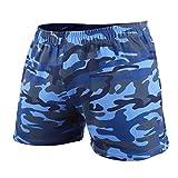 GYMAPE Pantaloncini da Allenamento per Bodybuilding da Palestra da Uomo in Esecuzione per Il Tempo Libero Atleta della Serie Camo da 5 Pollici Color Camo Blue Size L