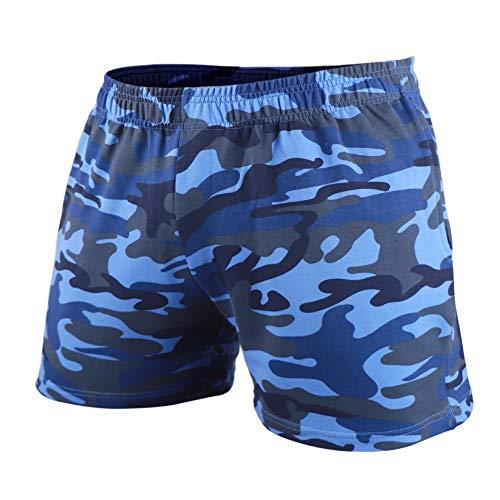 GYMAPE Pantaloncini da Allenamento per Bodybuilding da Palestra da Uomo in Esecuzione per Il Tempo Libero Atleta della Serie Camo da 5 Pollici Color Camo Blue Size XL