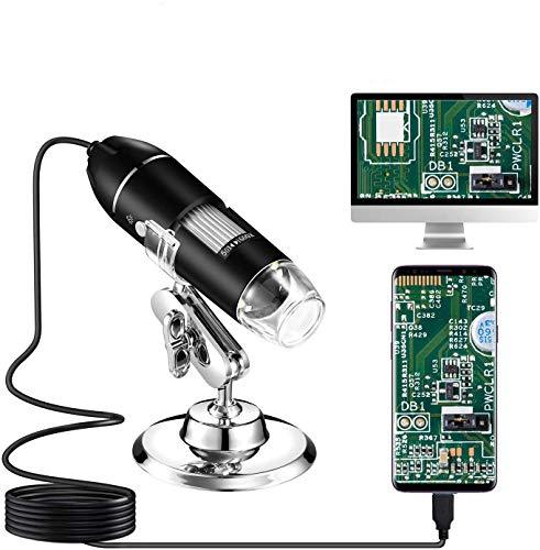 Microscopio digital USB, endoscopio de aumento de 50X a 1600X, cámara de microscopio USB 2.0 USB 2.0 con soporte de metal, para niños, estudiantes, adultos, compatible con Mac, Windows 7 8 10, Android