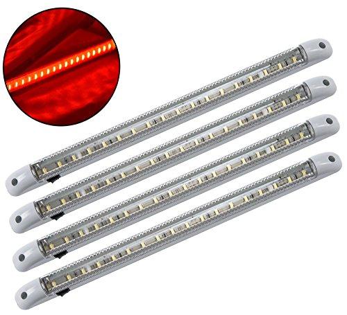 4x rojo LED 12V Interior para caravana y autocaravana Camión Coche jabalí tira de luz de la lámpara Nueva