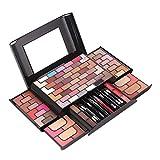 Anself 68 colores Sombra de Ojos 8 colores Blush 4 colores en Polvo 3 colores en Polvo para Cejas Lpstick Gold Brick Maze Set