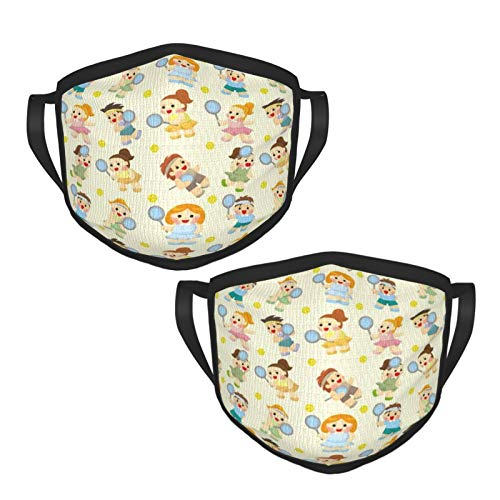Cartoon Tennis Players Adult Wind Washable Face Cover Adjustable Comfort and Protection Windproof Reusable Safety Adult Black-Rim mask (2 Packs)