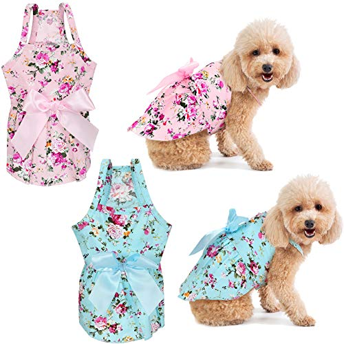 2 Pieces Dog Dress Girl Bowknot Floral Dress Cute Rosette Dog Sundress Dog Princess Dresses for Small Pet Puppy Dogs and Cats (Flower Pattern,S)